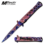 Stiletto Style Assisted Opening Folding Pocket Knife Pink Purple