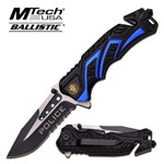 Tactical Police Spring Assisted Folding Pocket Knife With Partially Serrated Blade