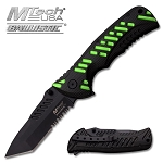M-Tech Dash Green Spring Assisted Knife - Tanto Black Serrated Blade