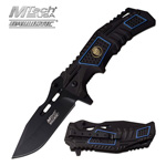 Police Department Madallion Mounted Black Tactical Spring Assisted Folding Knife