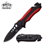 4.75 Inch Red Black ABS Handle Spring Assisted Folding Pocket Knife