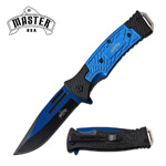 Blue Black Tactical EDC Blade Heavy Duty Spring Assist Knife