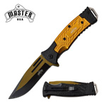 Gold Black Tactical EDC Blade Heavy Duty Spring Assist Knife