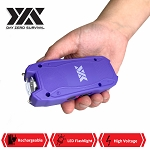 Purple DZS Rechargeable Self Defense Mini Stun Gun With LED FlashLight