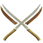 Medieval Double Fighting Short Sword Set With Scabbards
