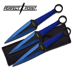 Dual Edge Blue Kunai Throwing Knives Dagger 3-Pc Set 9