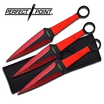 Dual Edge Red Kunai Throwing Knives Dagger 3-Pc Set 9