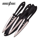 3 Piece Ninja Tactical Silver Black Throwing Knife Set
