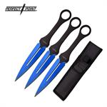 Perfect Point 7 Inch 3 Piece Throwing Knife Set Blue Blade