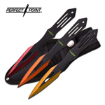 Triple Sunrise Orange Red Yellow Throwing Knife Set Three Pack