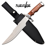 Survival Bowie Knife 14.5 Inch Fixed Blade Knife Brown Pakkawood