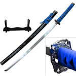 Dragon Sakura Samurai Sword With Stand Carbon Steel Blade Blue