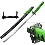 Dragon Sakura Samurai Sword With Stand Carbon Steel Blade Green