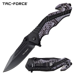 Tactical Pocket Knife Spring Assisted Knife Black Gray Camo