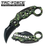 Spring Assist - Green Skulls Handle - Karambit Tactical Knife