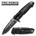 Tac-Force Black Assisted Open EMT LED Light Liner Folding Pocket Knife