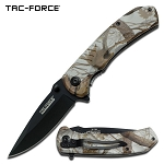 Brown Camo Handle Spring Assisted Knife With Pocket Clip - 4.25