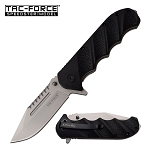 Spring Assist Folding Knife Tactical Silver Blade Black Handle EDC