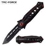 Spring Assist Folding Knife Tac-Force Black Tanto Stiletto Blade Red Tactical