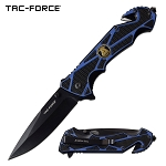 Spring Assist Folding Knife Blue Police Black Blade Rescue