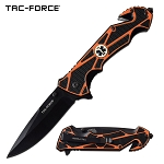 Spring Assist Folding Knife Orange EMT Paramedic Black Blade Rescue