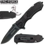 Black Spring Assist Knife Multi Tool With Can Opener, Rope Cutter, Glass Breaker