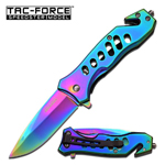 Rainbow Titanium Pocket Knife: Iridescent Spring Assisted Kit