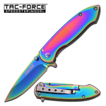 Folding Pocket Knife Assisted Open Rainbow Titanium 3 Inch Blade