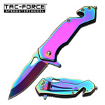 Mirror Rainbow Tactical Rescue EDC Spring Assisted Folding Pocket Knife