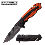 Tac Force Tactical Rescue Spring Assisted Knife Black Orange Handle