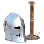Visored Barbuta Helmet With Stand