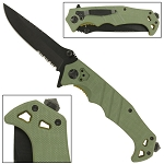 Olive Green Emergency Assisted Folding Slip Resistant Pocket Knife EDC