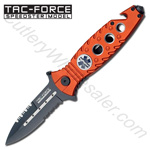Orange Paramedic EMT Stiletto Style Spring Assisted Knife