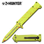 Joker Zombie Yellow Spring Assisted Folding Pokcet Knife Red Blood Spots