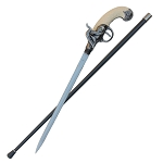 Flintlock Sword Cane Antique Gun Handle Walking Cane Sword