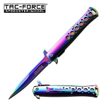 Spring Assisted Open RAINBOW Stiletto TACTICAL Folding Pocket Knife