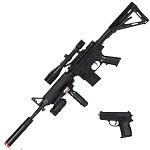 P1158D Tactical Spring Airsoft Rifle Gun With Pistol Combo Pack