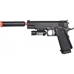 P2001C Model Spring Airsoft Pistol with Mock Suppressor & Laser