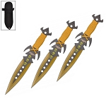 7.5 Inch Deadly Triad of Skulls Dagger Point 3 PC Throwing Knives Set Yellow