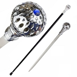 Silver Crown Jewel Knob Handle Walking Cane Sword
