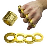 Kung Fu Finger Magic Golden Ring Self Defense Brass Knuckle Survival Tool