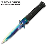 4 Inch Closed Titanium Stiletto Style Assisted Knife With G-10 Handle