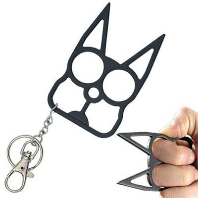 Cat Self Defense Knuckle Key Chain Black