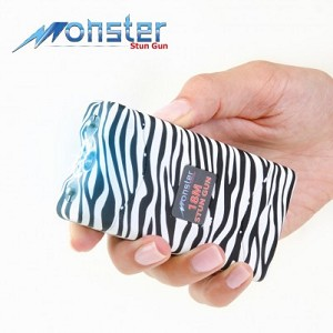 Zebra Black/White Monster 18 Million Volt Rechargeable Stun Gun - LED Light