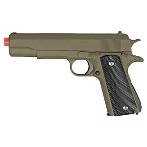 Full Metal 1911 OD Green Black Grips AIRSOFT Gun Pistol New In Box 330 FPS