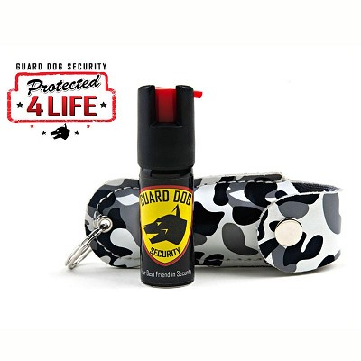 Black Camo Personal Defense Pepper Spray OC-18 1/2 oz Keychain Leather Case