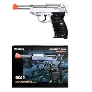 G21 Full Metal Spring Pistol P38 Style with Metal Magazine Silver 250 FPS