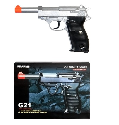G21 Heavy Weight Spring Pistol P38 Style with Metal Magazine Silver 250 FPS