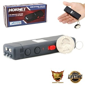 Mini Keychain Stun Gun LED Flashlight HORNET 6 Million Volt Black Rechargeable