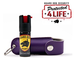 Purple Personal Defense Pepper Spray OC-18 1/2 oz - Leather Case